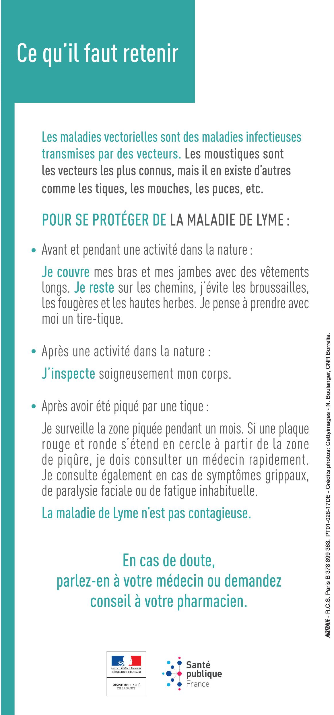 Maladie de Lyme et prévention des piqûres de tiques - déplian