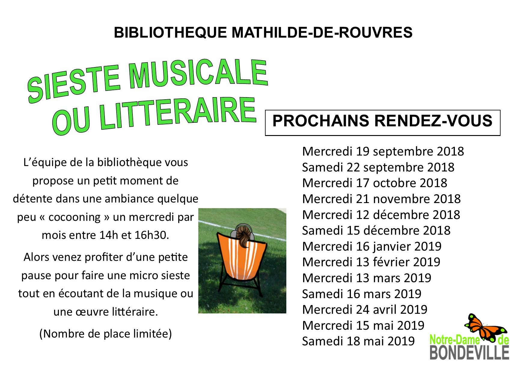 Siestes musicales et littéraires 2018-2019 affiche anuelle portrait